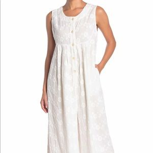 NWT Free People Flower Embroidered Wide Leg Cotton